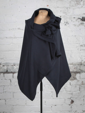 Navy Wool Cape with Ruffle