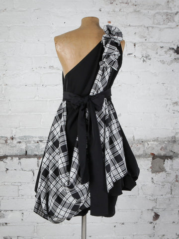 Black and White Tartan Dolly Dress