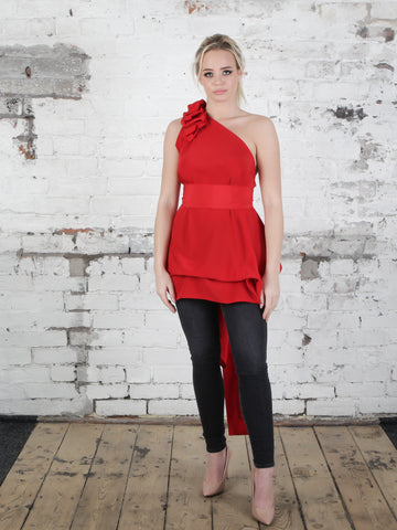 Bright Red Drew Top