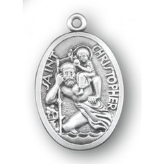 Sterling Silver Oval St. Christopher 24""