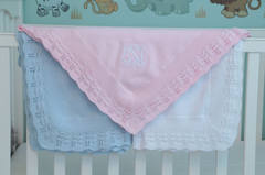 Cotton Baby Blanket with Scallop Border