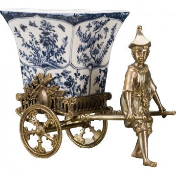 Blue and White Porcelain Planter With Bronze Oriental Man and Bronze Rickshaw