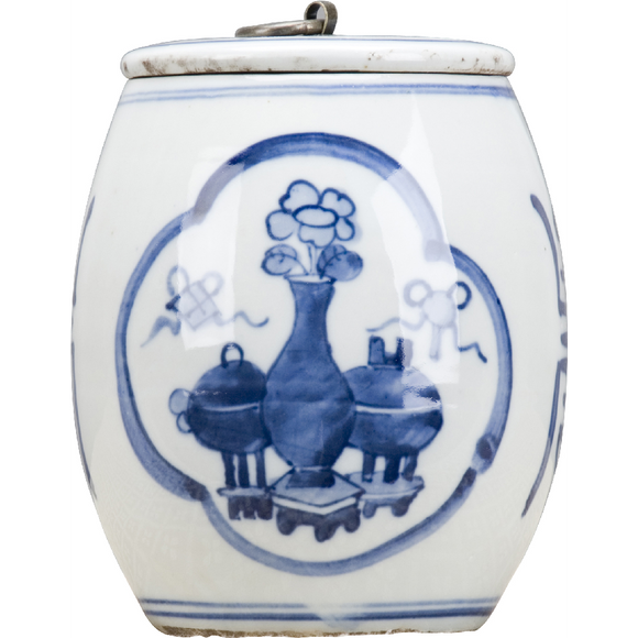 Blue And White Porcelain Bronze Top Ring Jar