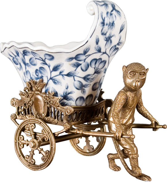 Blue and White Porcelain Planter With Bronze Monkey