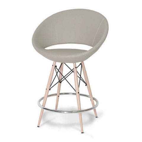 Shop For Crescent MW Counter Stool Bone PPM Leatherette | 212Concept