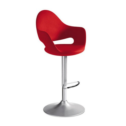 Leatherette upholstered Soft-SG Piston swivel stool in red by Domitalia