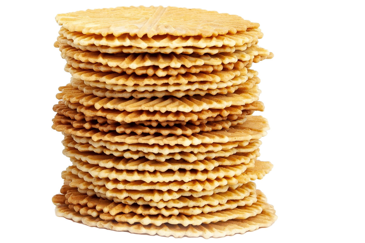 Tower of deliciously looking ferratelle or pizzelle