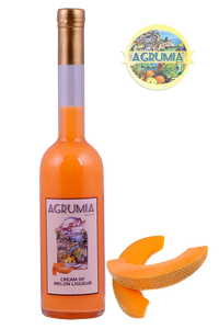 Agrumia liqueur bottle of cream of melon flavour with representative melons at its side