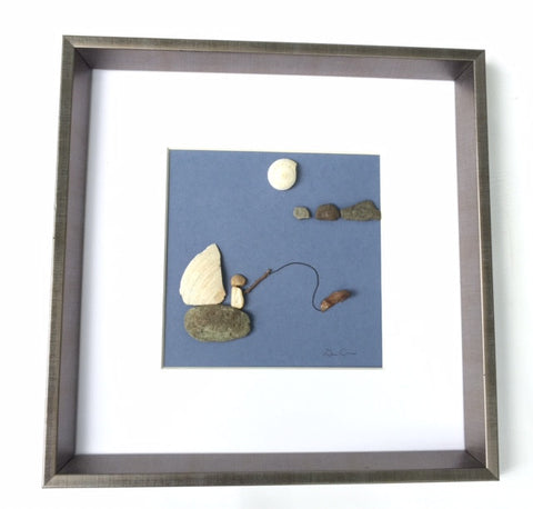Pebble Art Fisherman