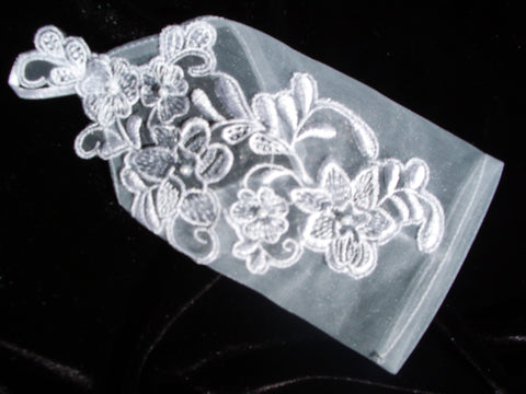 #9132 Sheer fingerless wedding gloves w/ lace and pearl detail