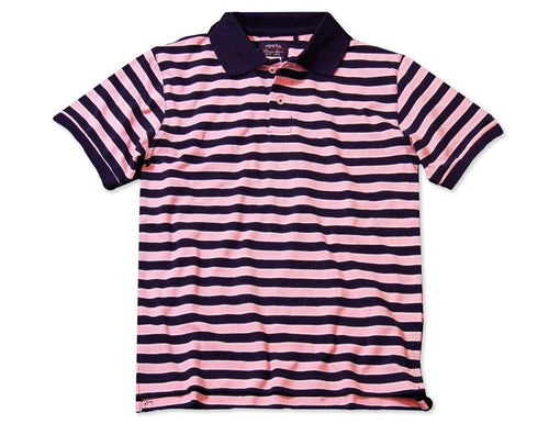 Garb Boys Striped Cotton Polo Pink and Navy