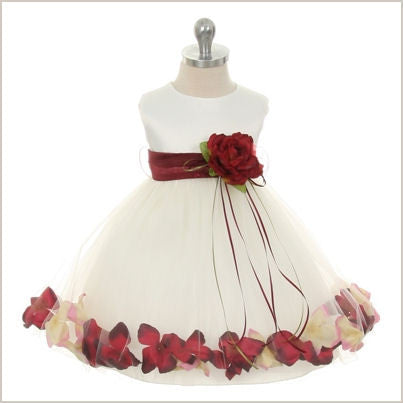 Petal dress in Ivory and Burgundy