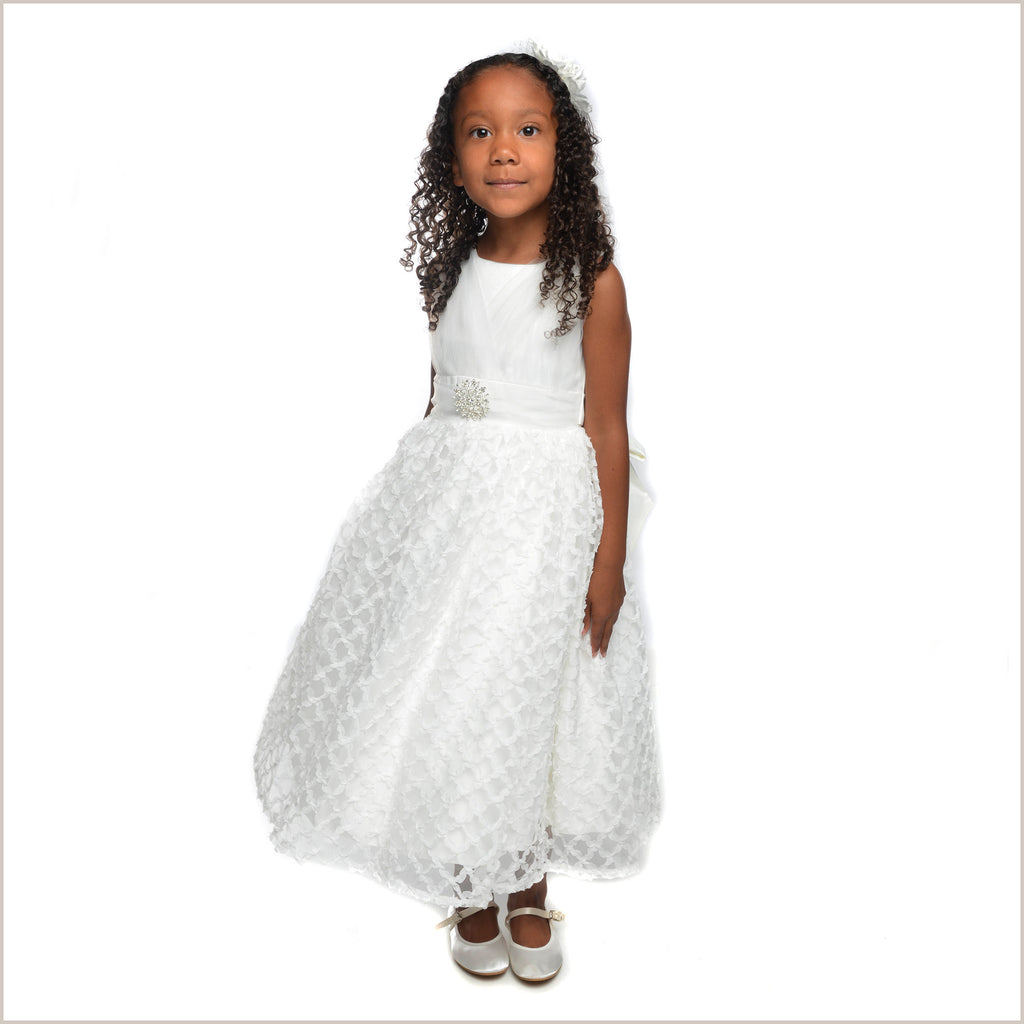 Blaire Ivory Dress with Diamante Brooch