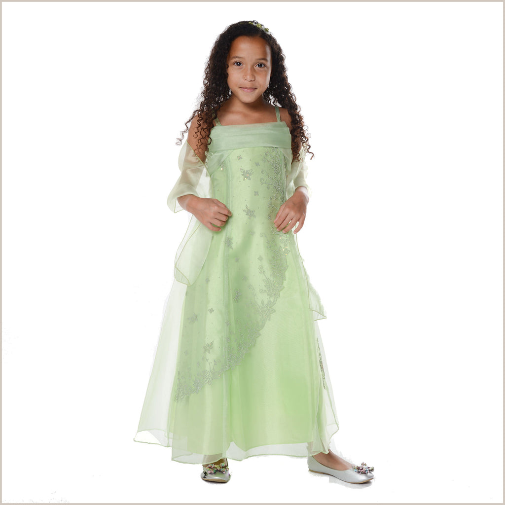 Ellie Lime Green Long Organza Dress with Caviar Beading