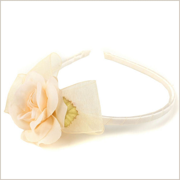 Ivory Bow & Flower Hairband