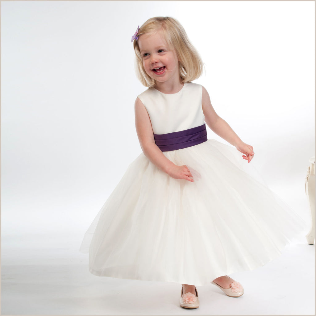 Vienna Ivory Tulle Dress with Purple Sash 10y only left