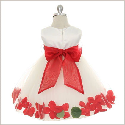 Petal dress in Ivory and Red