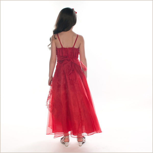 Ellie Red Long Organza Dress with Caviar Beading