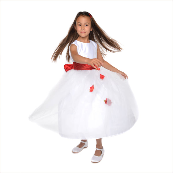 Heather white flower girl dress with red roses