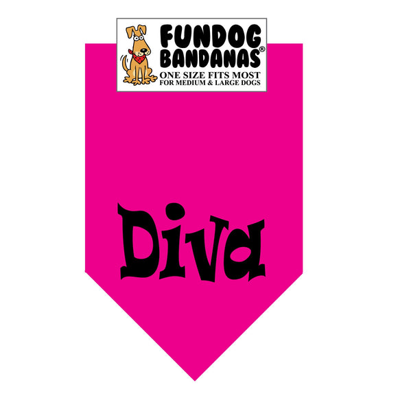 Hot Pink one size fits most dog bandana with Diva in black ink.
