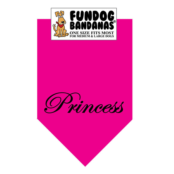 Hot Pink one size fits most dog bandana with Princess in black ink.