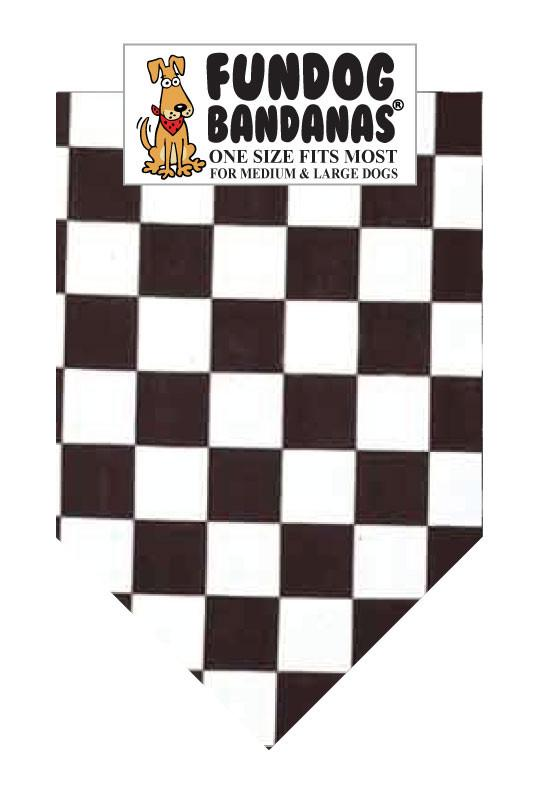A black and white one size fits most checkerboard dog bandana
