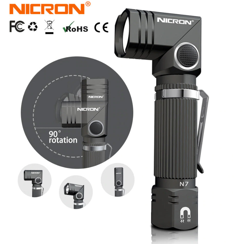 "Nicron N7 4.4"" 600/250 Lumen 14500/AA IP65 Magnetic Convertible L-Torch LED Flashlight"
