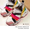 AEE Colorblock Rivet Lace-Up Low Shoes