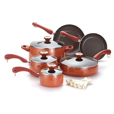 Nonstick 15-Piece Cookware Set,Red Speckle