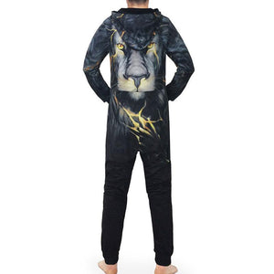 Animal  Lace Up Plus Size Printed Men's Suits
