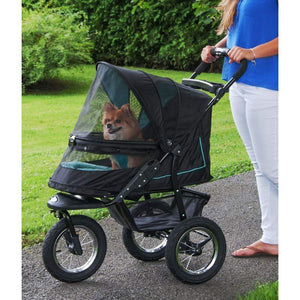 One-hand Fold Pet Stroller,Plush Pad + Weather Cover