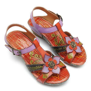 Leather Adjustable Hook Loop Printing Flower Flat Sandals