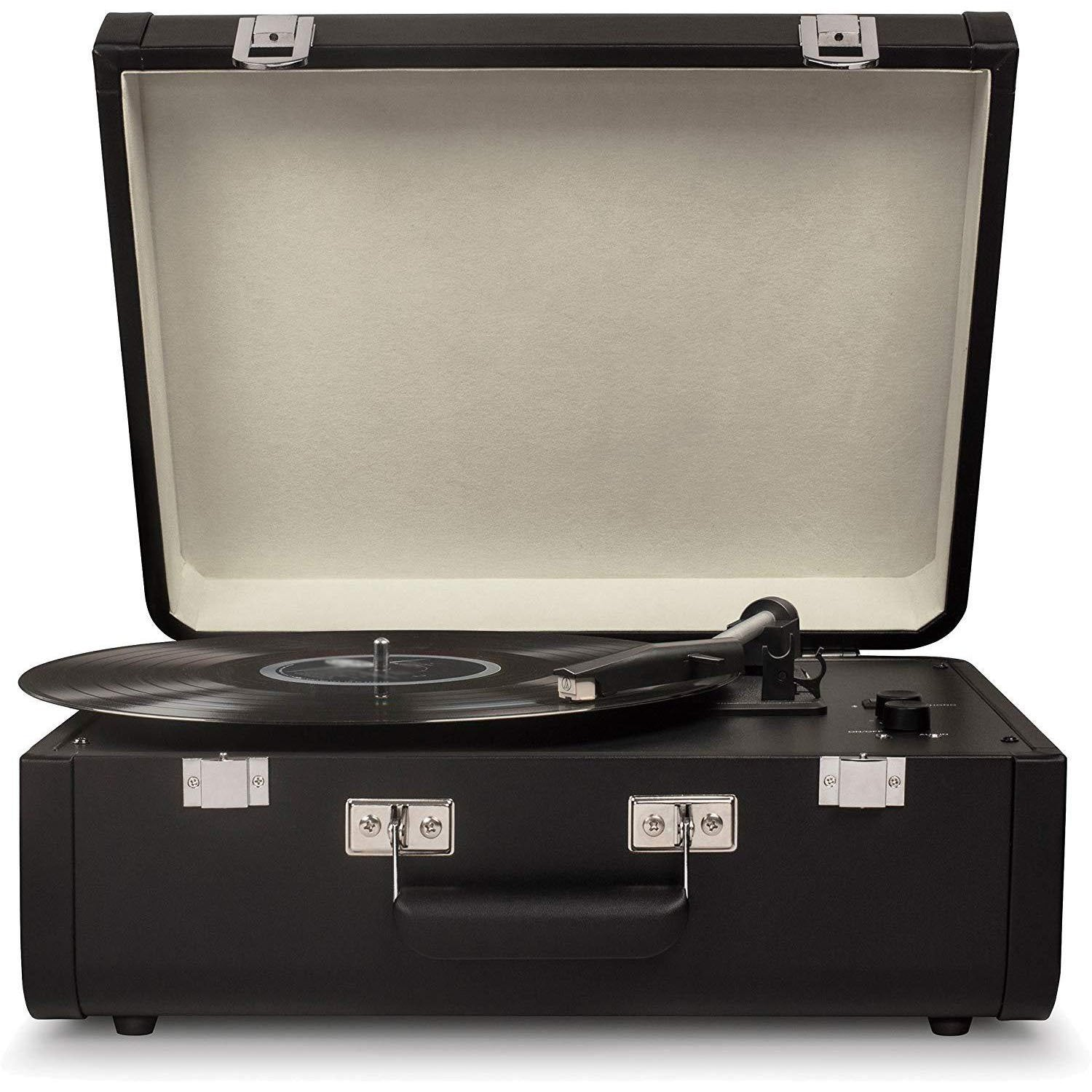 Bluetooth Suitcase Turntable With Built-in Speakers,Black