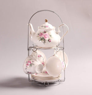 White And Pink Ceramic Tea Set