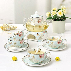Teacup Saucer Spoon with Teapot Warmer & Filte