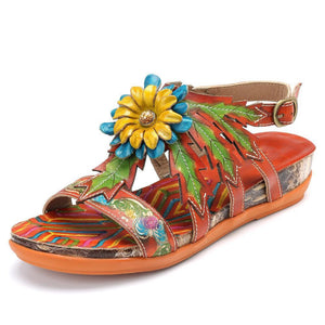Wild Daisy Genuine Leather Adjustable Buckle Comfortable Flat Sandals