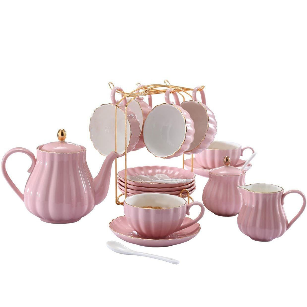 Porcelain Tea Sets With Tea Strainer(Pink)