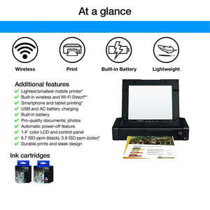 Mobile Printer Built-In Rechargeable Lithium-Ion Battery