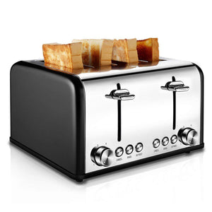 Stainless Steel Toaster,1650W, Black
