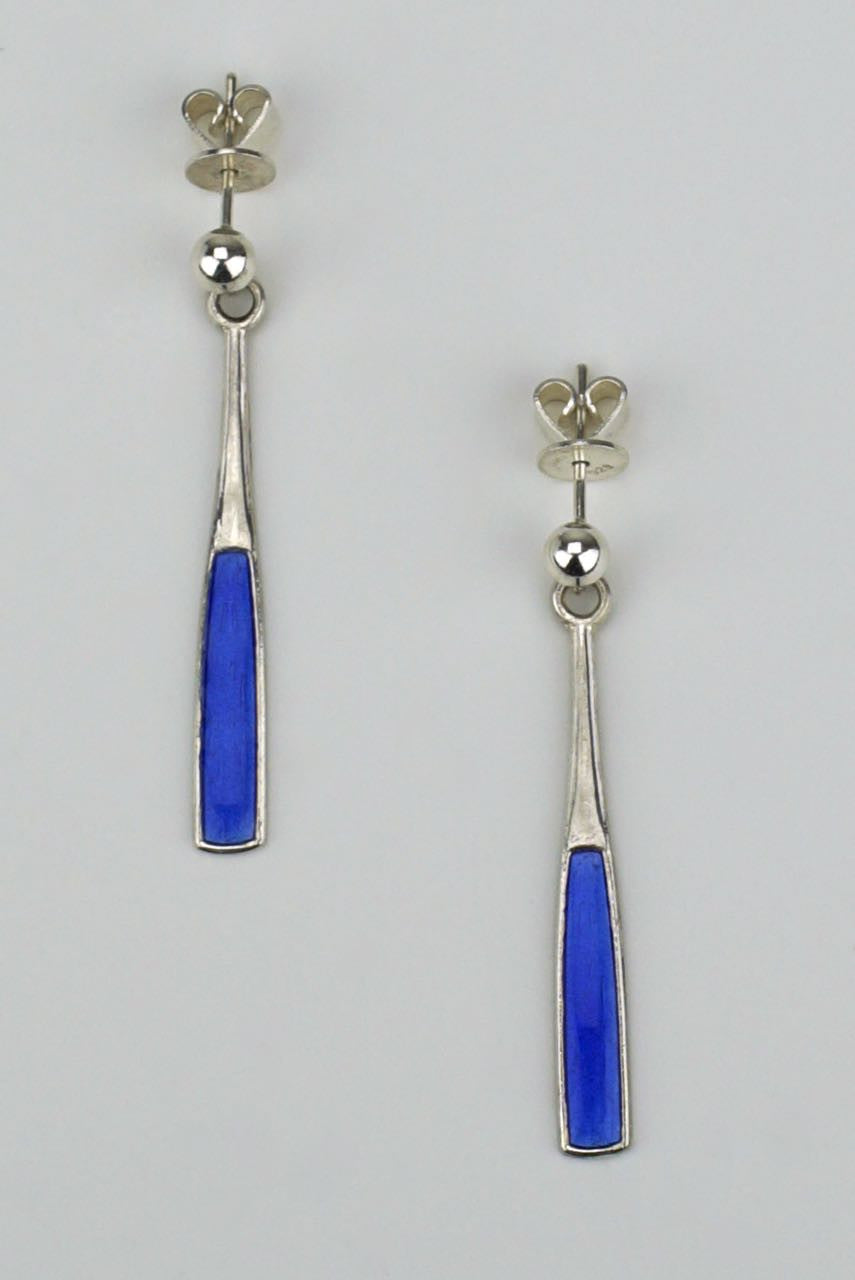 Norwegian silver and blue enamel paddle earrings