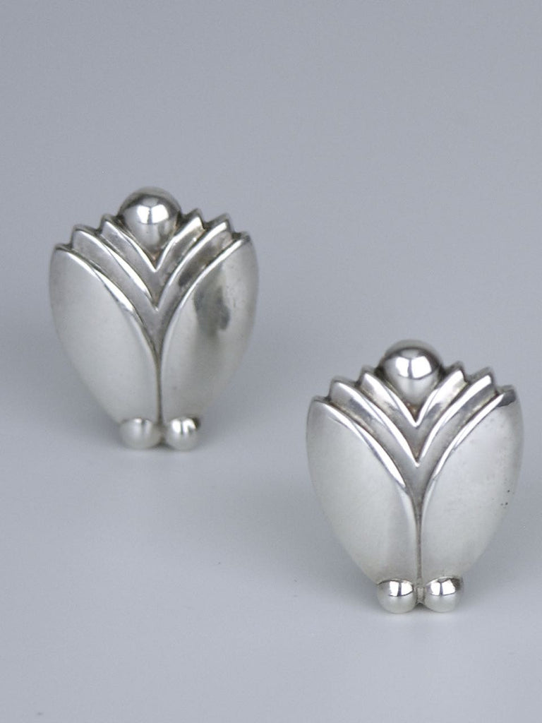 Georg Jensen silver bud and berry earrings - design 106