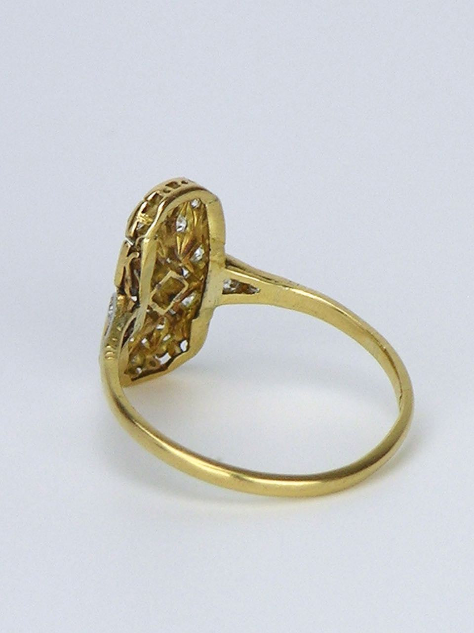 Art Deco 18k yellow gold and diamond plaque ring