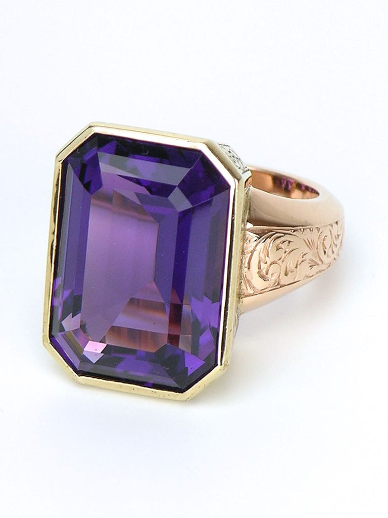 Amethyst and gold cocktail ring