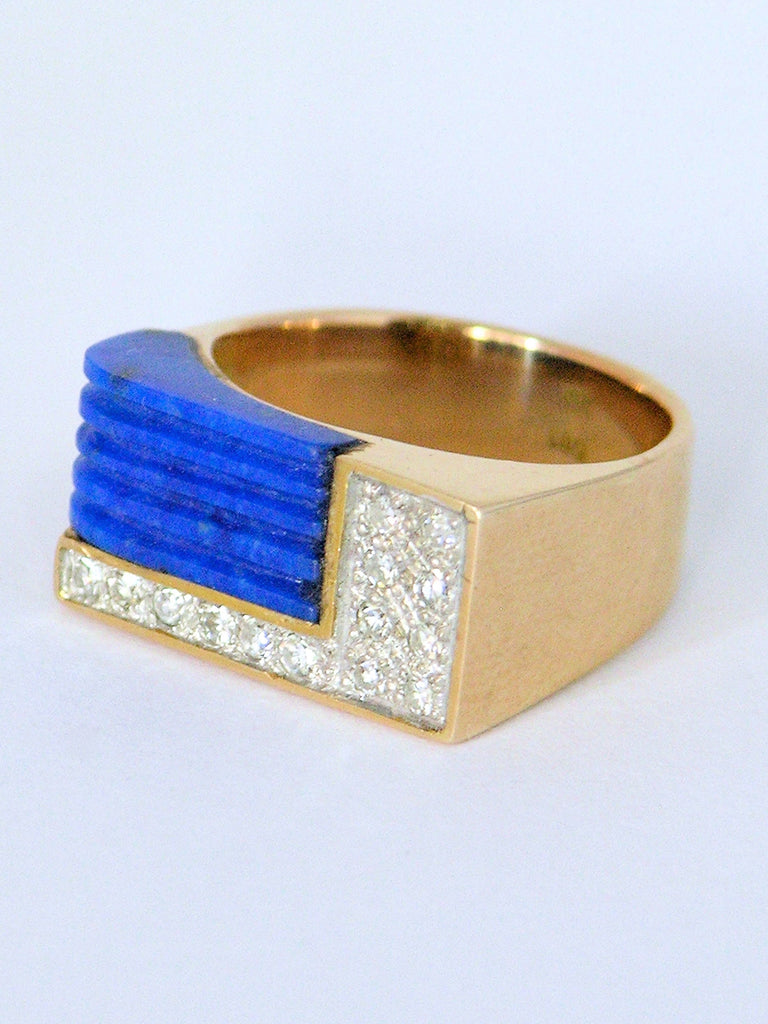 Gold lapis and diamond dress ring 1970s