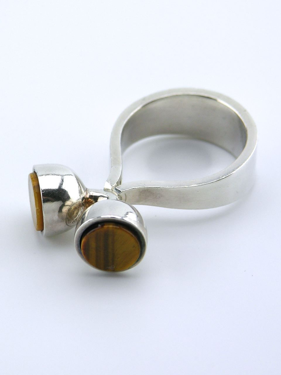 Arne Johansen silver and tiger's eye modernist dot ring
