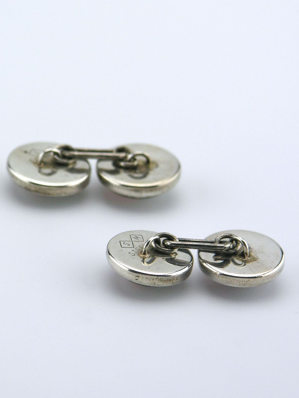 American silver mounted double fronted essex crystal golfer cufflinks