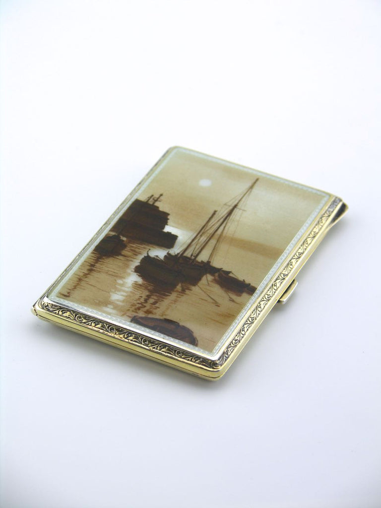 European solid silver and sepia enamel boating scene case