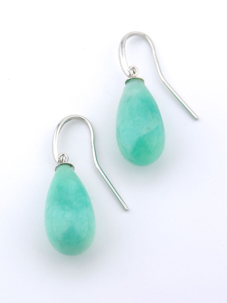 Australian 9ct white gold and amazonite drop earrings