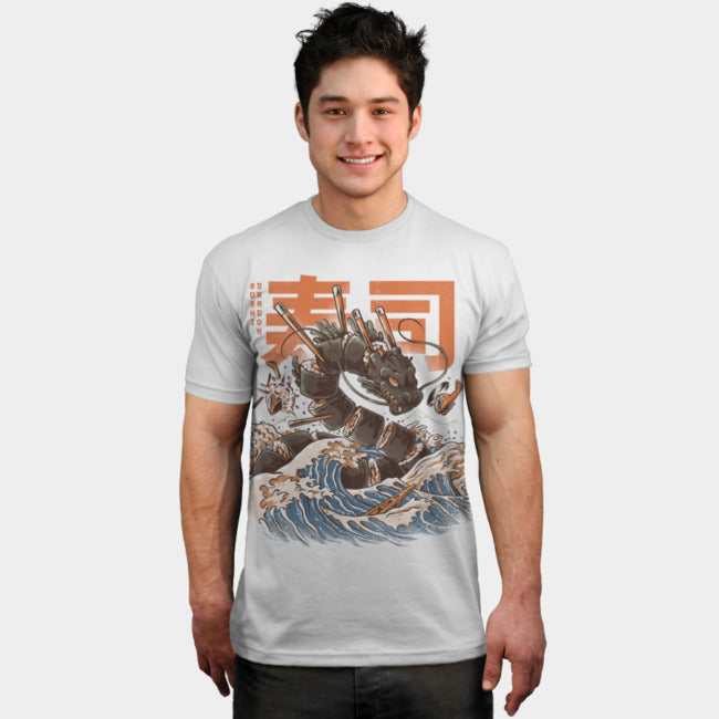 Design By Humans - Great Sushi Dragon White T-Shirt by Ilustrata