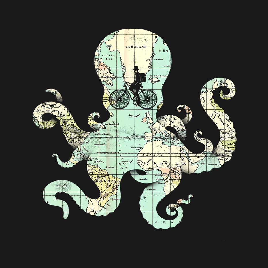 Artokingo - All Around the World Black T-Shirt by Enkel Dika